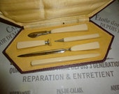 Writing, Seal, Pen Etc. Desk Set. Art Deco, Original Box, French Circa 1930's