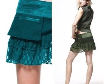 PIXIE skirt, ASSORTED COLOURS - psytrance skirt, elf skirt, ethnic skirt, goa Skirt, wrap Skirt, Pixie Mini Skirt, Vclskde