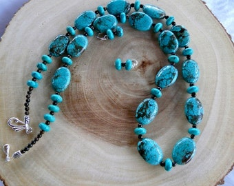 Chunky 31 Inch Turquoise Necklace with Tiger's Eye and Earrings