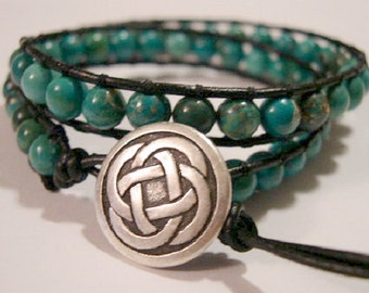 Wrap Bracelet, Beaded wrap bracelet, Beaded leather wrap, Double Wrap bead bracelet, Boho bead wrap, Turquoise - 842