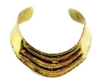 Vintage Brass Brutalist Choker    Necklace Tribal