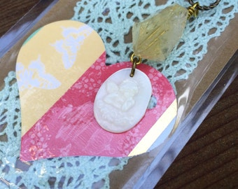 Handmade Crystal bookmark - Citrine and Angel