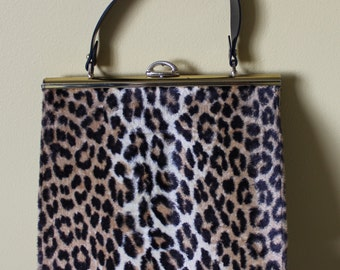 Sexy Classic Vintage 1950's LARGE  Leopard Faux Fur Kelly Handbag Signed Created in California by Mahler