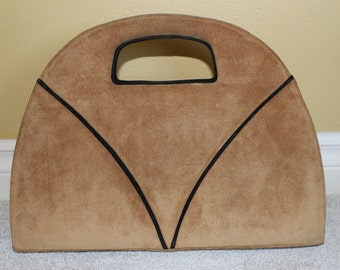"1970's Long 15"" Camel & Black Suede Geometric Handbag"