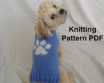 Dog sweater knitting pattern with paw print - PDF, small dog sweater, instant download