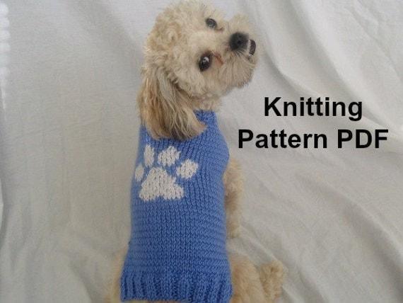 Knitting Pattern Boxer Dog Sweater : Dog sweater knitting pattern with paw print PDF small dog