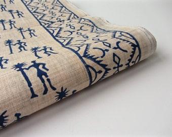 Kobalt blue warli tribal block printed on beige cotton silk India fabric nr 642