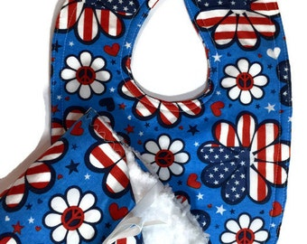 Patriotic Bib - 4th of July Bib - Dribble Bib - Red White Blue - Baby Gift Set - Baby Girl Bib - Girl Gifts -Flag bib - Hippie Baby - Peace