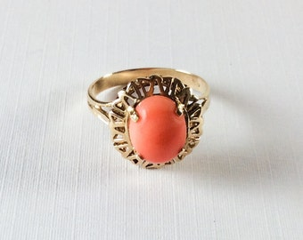 Coral Ring, 14K Gold Ring, Mid Century, Vintage Jewelry, Gift for Her SUMMER SALE