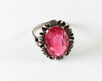 Art Deco Ring, Raspberry Red Glass, European Silver, Vintage Jewelry, Gift for Her SALE
