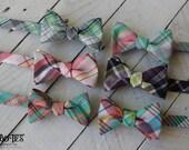 Organic Madras Plaid Bow Tie~Mens Self Tie Bow Tie~Mens PreTied~Anniversary Gift~Wedding Tie~HoBo Ties~Cotton Bow Tie~Mens Gift~Wedding~