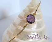 Amethyst bracelet - Amethyst bangle - Amethyst hydro bracelet - Gemstone bracelet - Minimalist jewelry - Everyday jewelry - Gold Bangle