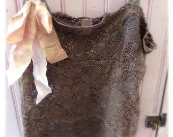 Brown Lace Camisole Top Stretch Lace Bohemian Romantic Repurposed Banana Republic Womens Small Tattered Ribbons
