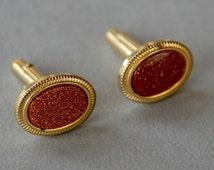 Vintage ANSON Cuff Links Faux Goldstone Aventurine Glass Gold Tone Victorian Revival Men's Jewelry 1960's // Vintage Men's Accessories