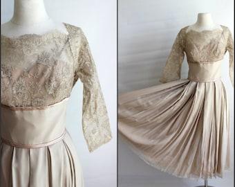 Creamy 1950s, formal dress , medium , large