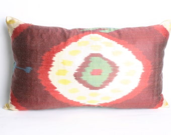 13x22 inch-Luxurious ikat Pillow,Traditional Handmade Pillowcase, Modern Silky Decorative Pillow For Couch