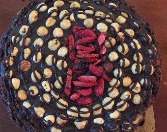 Vegan Double  Chocolate Hazelnut Strawberry cake!