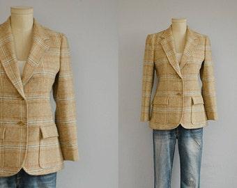 Vintage 70s Wool Blazer / 1970s Villager Neutral Check Donegal Tweed Wool Jacket