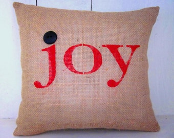 Christmas pillow,holiday decor, christmas,decorative pillows, burlap christmas, farmhouse style, rustic christmas,joy,