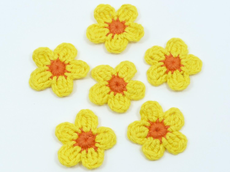 Crochet appliques crochet flowers 6 small applique flowers - Appliques flos ...