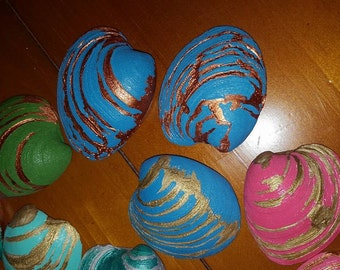 Clam Shell Table Decor-choose your Colors, Personalize w/Initials,Date,Name, Have made into ornaments!