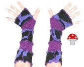 Arm Warmers Wild Blueberries Fingerless Gloves Blue Black And Purple Animal Print Pony Girrafe Cow Texting Mittens Recycled Sweater Warmies