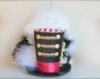 Big Top Circus Ring Master Inspired Red, White, Black and Gold Mini Top Hat Headband (or fascinator) - Perfect Circus Birthday Photo Prop