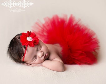 Red Chiffon Flower with Rhinestone Center Headband  - Perfect Holiday Christmas or Valentines Day Newborn Photo Prop