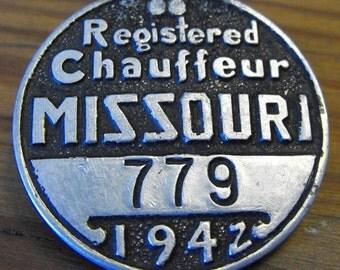 1942 Missouri Chauffeur License Badge