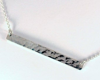 Hammered Rectangle Bar Necklace, Sterling Silver, Made to Order