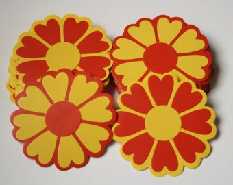 25 Red and yellow die cut flower sticker