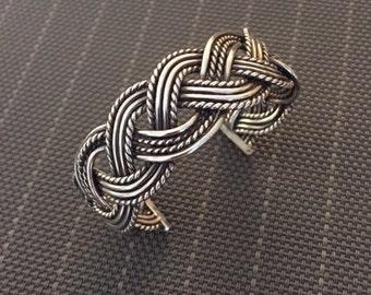 Heavy 14 Gauge Woven Sterling Cuff Bracelet