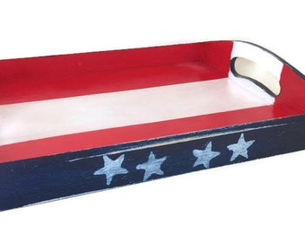 Wood Serving Tray - Patriotic Home Accessories - Independence Day - July 4 - Red White Blue - Ottoman Tray Memorial Day - Rustic Home Decor