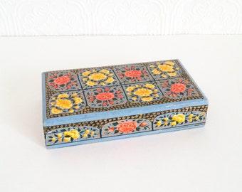 Vintage Wooden Box Hand Painted Floral Design Jewelry Box Vanity Decor