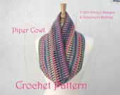 Piper Cowl Crochet Pattern, Quick Easy Scarf, Stash Buster, Worsted Yarn, Striped