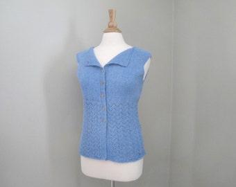 Button Up Vest, Hand Knit Vest, Luxury Cardigan Sweater, Wool & Silk, Blue, Ballet Neck Lace