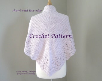 Crochet Shawl Pattern, Crochet Pattern, Double Crochet, Scallop Lace, DK Worsted Yarn, Simple Basic Shawl with Lace