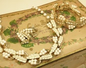 White Jewelry Set Coro Necklace Bracelet  Clip On Earrings