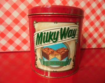 1989 Milky Way Tin Canister Vintage Kitchen Cannister