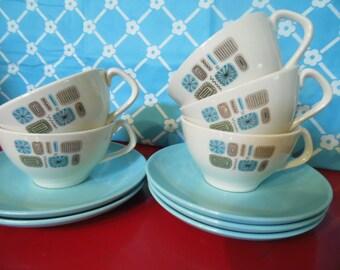 Mid Century Modern Tea Cups/Saucers - Set Of 5 - Temporama -Canonsburg Pottery
