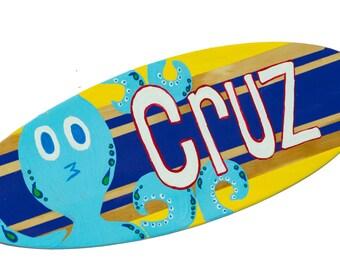 Surf Decor, Surfboard Wall Art, Boys Surfing Sign, Beach Nursery Decor, Personalized Name Sign, Beach Themed Bathroom Decor, Room Decor Cruz