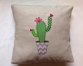 Cactus cushion cover, decorative, throw cushion. Appliquéd cotton on linen, 16. Free motion embroidery.