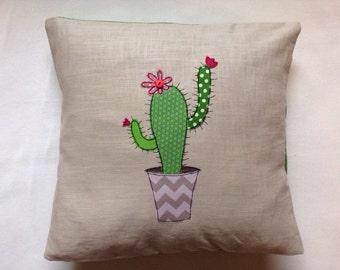 Cactus cushion cover, decorative, throw cushion. Appliquéd cotton on linen, 16. Free motion embroidery.