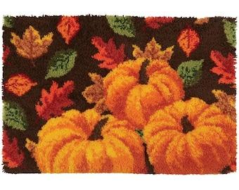 Fall Pumpkin & Leaves Latch Hook Rug