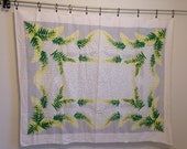 Vintage Tablecloth, Grey White Yellow and Green Tablecloth with Leaves, Vintage Leaf Tablecloth