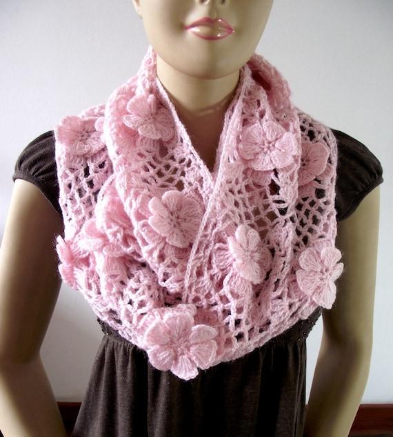 Crochet Floral Shawl Pattern : CROCHET PATTERN SCARF Floral Whisper scarf Lace Crochet