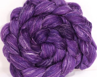 Batt in a Braid #3 - Hand dyed top for spinning- - (4.7 oz. ) polwarth/tussah silk/ linen ( 40/40/20)