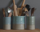 One utensil holder or vase in your choice of clay and glaze color. Modern pottery utensil holder by vitrifiedstudio.