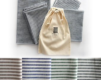 Cotton Linen Stripe Cloth Table Linen Set, Green, Blue, Black or Latte, Table Runner, Kitchen Towel, Dinner Napkins, Cocktail Napkins, Gift