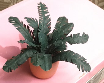 "Dollhouse Miniature Potted House Plant, ""Tropical Dreams"", Scale One Inch"